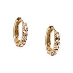 14 Karat Yellow Gold and Diamond Classic Huggie Earrings