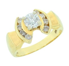 14 Karat Yellow Gold and Diamond Crescent Ring