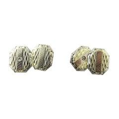 14 Karat Yellow Gold and Diamond Cufflinks