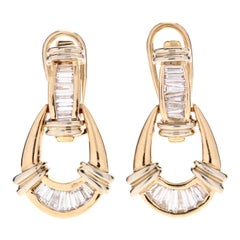 14 Karat Yellow Gold and Diamond Door Knocker Earrings