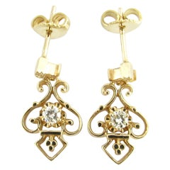 14 Karat Yellow Gold and Diamond Earrings