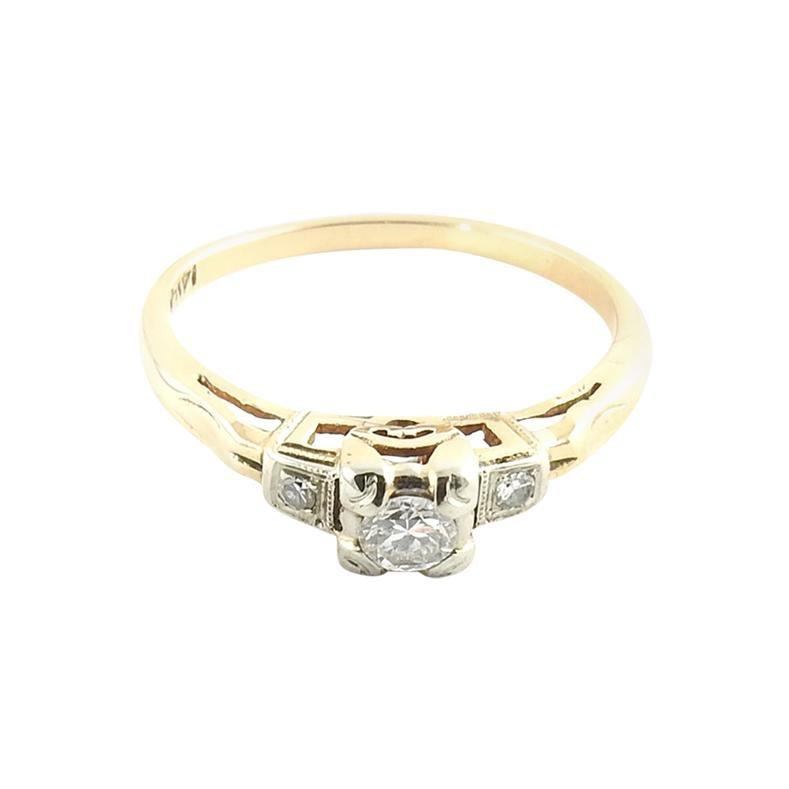 14 Karat Yellow Gold and Diamond Engagement Ring