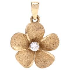 14 Karat Yellow Gold and Diamond Flower Charm / Pendant