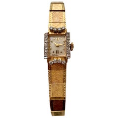 14 Karat Yellow Gold and Diamond Hamilton Watch