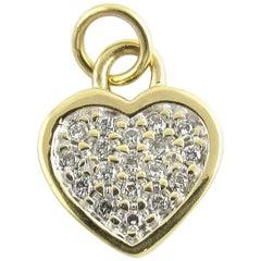 14 Karat Yellow Gold and Diamond Heart Pendant