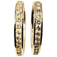 14 Karat Yellow Gold and Diamond Hoop Earrings