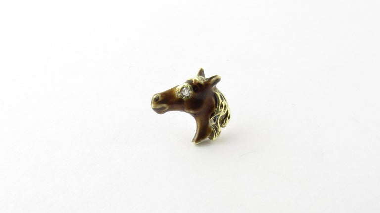 14 Karat Yellow Gold and Diamond Horse Head Tie Tack For Sale 1