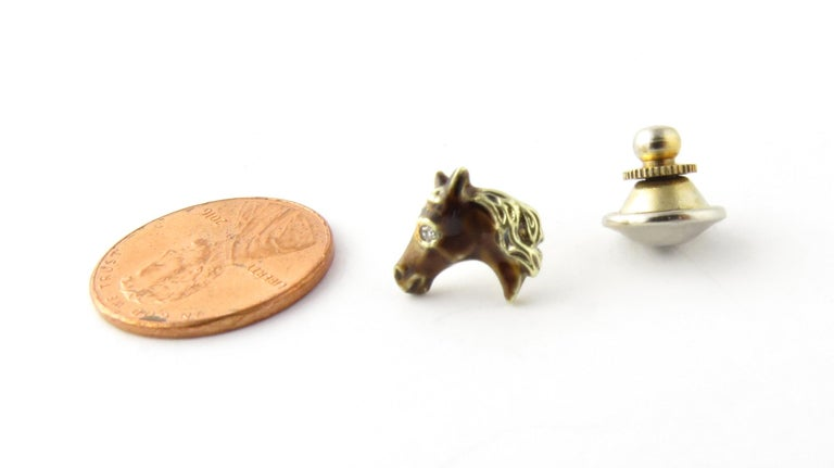 14 Karat Yellow Gold and Diamond Horse Head Tie Tack For Sale 3
