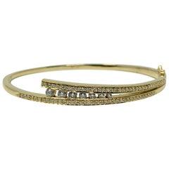 14 Karat Yellow Gold and Diamond Ladies Hinged Bangle Bracelet