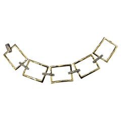 14 Karat Yellow Gold and Diamond Link Bracelet