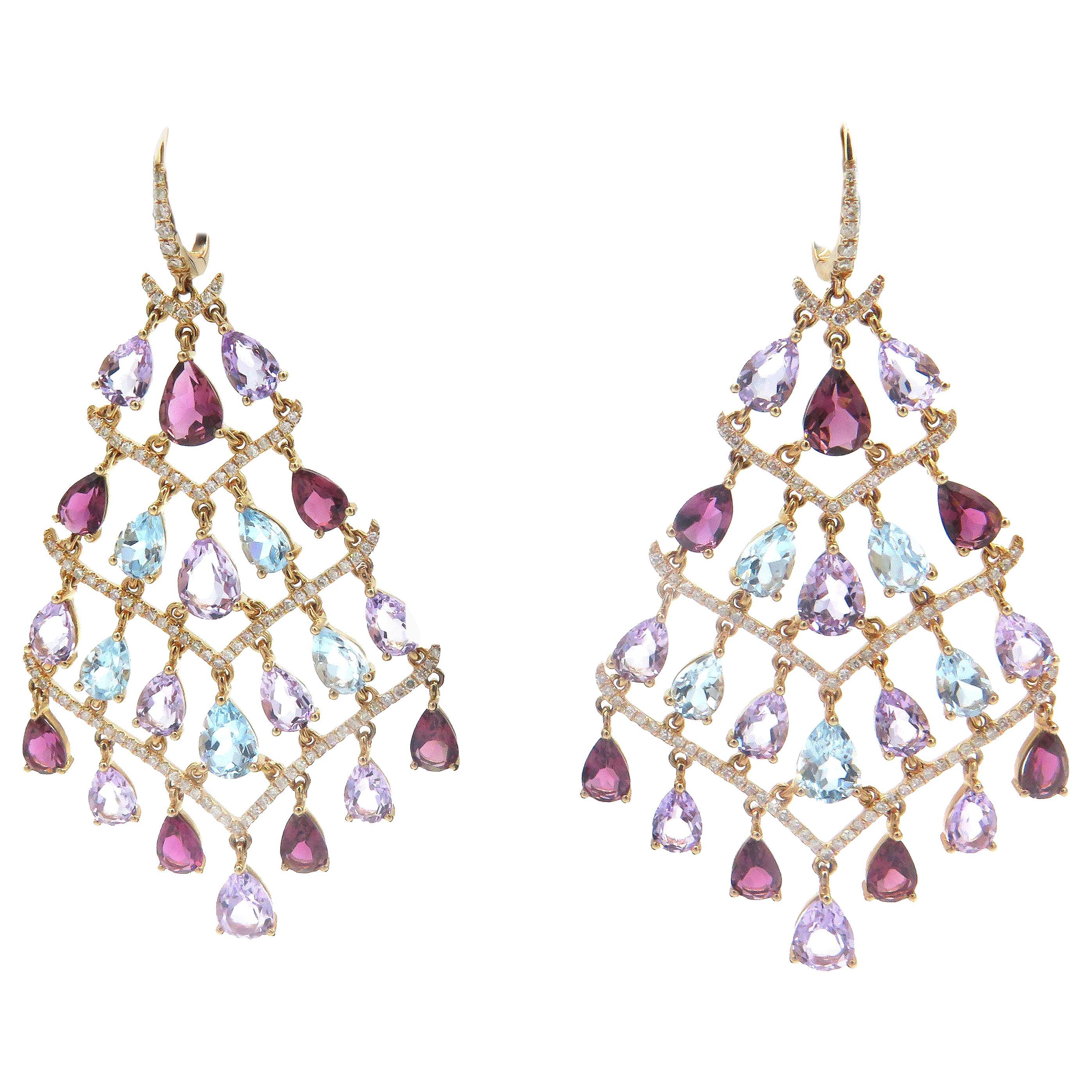 14 Karat Yellow Gold and Diamond Multicolored Stones