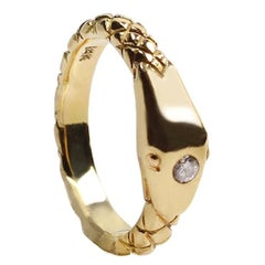 14 Karat Yellow Gold and Diamond Ouroboros Snake Ring