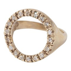 14 Karat Yellow Gold and Diamond Pave Halo Circle Ring