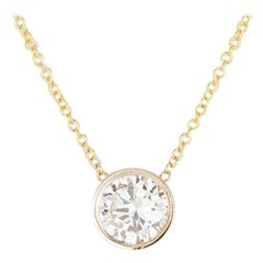 14 Karat Yellow Gold and Diamond Pendant Necklace 0.81 Carat