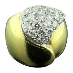 14 Karat Yellow Gold and Diamond Heart Shaped Dome Ring