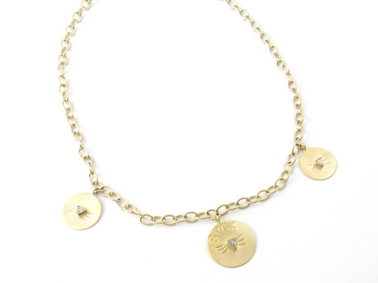 d550e92381518 14 Karat Yellow Gold and Diamond SPCA Cat Necklace