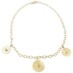 da4a77c9ad33a 14 Karat Yellow Gold Diamond Cut Cat Pendant Necklace For Sale at ...