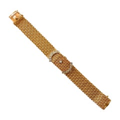 Hamilton 14 Karat Yellow Gold and Diamond Vintage Bracelet Watch