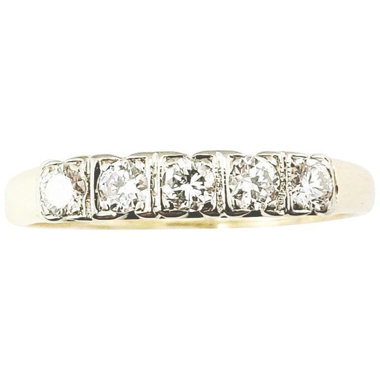 14 Karat Yellow White Gold and Diamond Wedding/Anniversary Ring