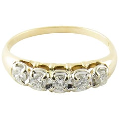 14 Karat Yellow Gold and Diamond Wedding Band