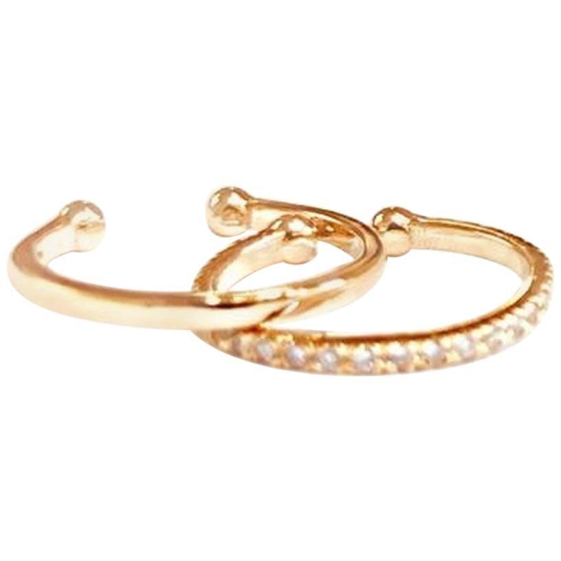 14 Karat Yellow Gold and Diamonds Faux Cartilage Hoop Earring Set