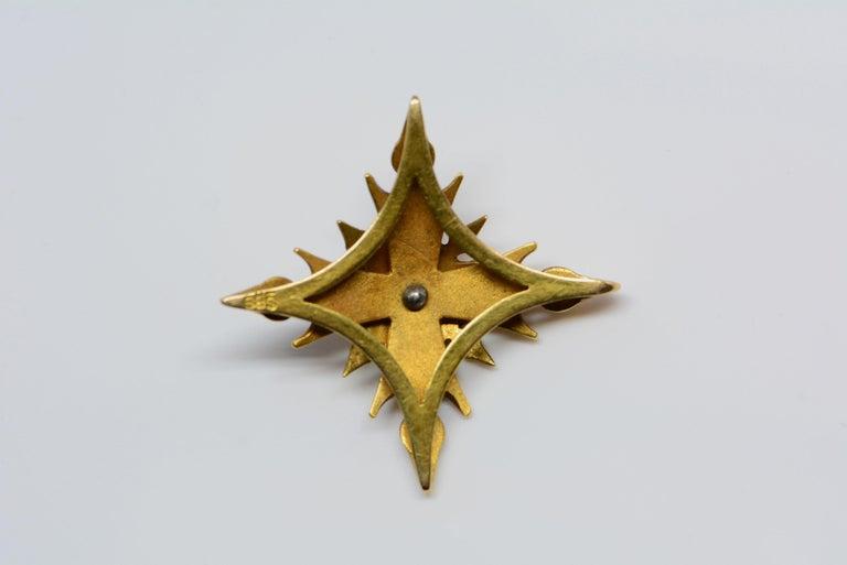 Women's or Men's 14 Karat Yellow Gold and Enamel Cruciform Pendant For Sale