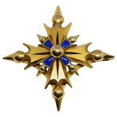 14 Karat Yellow Gold and Enamel Cruciform Pendant