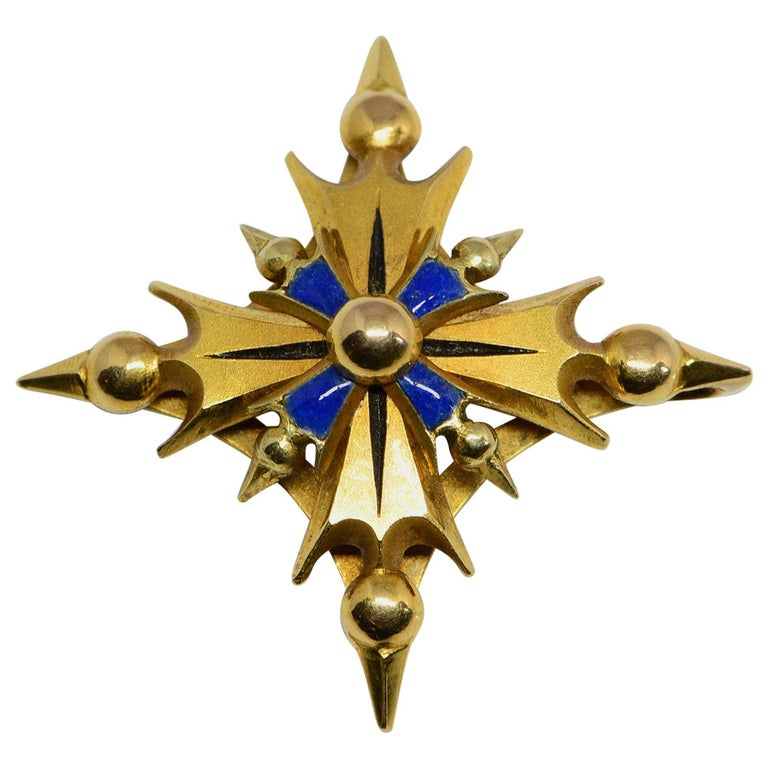 14 Karat Yellow Gold and Enamel Cruciform Pendant For Sale