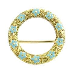 14 Karat Yellow Gold and Enamel Floral Circle Pin or Brooch