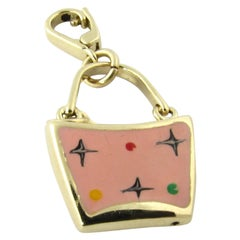 14 Karat Yellow Gold and Enamel Handbag Charm