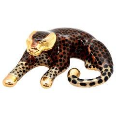 14 Karat Yellow Gold and Enamel Panther Slide Pendant