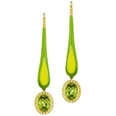14 Karat Yellow Gold and Enamel Peridot and Sapphire Dangle Earrings