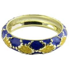 14 Karat Yellow Gold and Enamel Ring