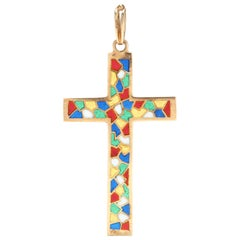 14 Karat Yellow Gold and Enamel Stained Glass Cross Pendant