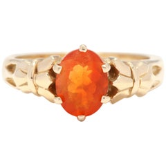 14 Karat Yellow Gold and Fire Opal Solitaire Ring