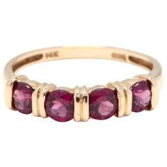 14 Karat Yellow Gold and Garnet Stackable Band Ring