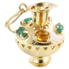 14 Karat Yellow Gold and Gemstone Pitcher Charm