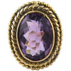 14 Karat Yellow Gold and Genuine Amethyst Ring
