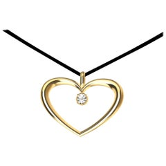 14 Karat Yellow Gold and GIA Diamond Polished Tapered Heart Necklace