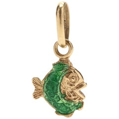 14 Karat Yellow Gold and Green Enamel Fish Charm / Pendant
