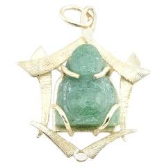 14 Karat Yellow Gold and Jade Buddha Pendant