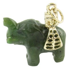 14 Karat Yellow Gold and Jade Elephant Pendant
