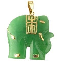14 Karat Yellow Gold and Jade Elephant Pendant