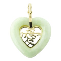14 Karat Yellow Gold and Jade Heart Pendant
