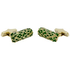 14 Karat Yellow Gold and Matrine Green Enamel Cufflinks