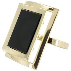 14 Karat Yellow Gold and Onyx Cocktail Ring