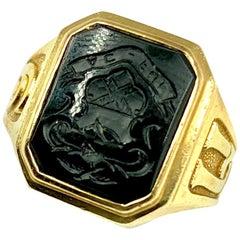 14 Karat Yellow Gold and Onyx Intaglio Ring
