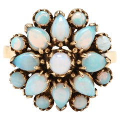 14 Karat Yellow Gold and Opal Flower Cocktail Ring