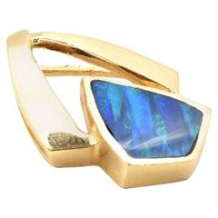 14 Karat Yellow Gold and Opal Pendant Enhancer