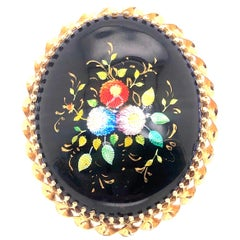 14 Karat Yellow Gold and Oval Enamel Floral Design Brooch / Pendant France